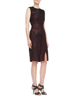 J. Mendel Sleeveless Dress with Sheer Detail, Ruby/Noir