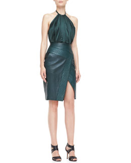 J. Mendel Halter Leather Combo Sheath Dress