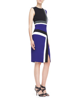 J. Mendel Sleeveless Colorblock Insert Sheath Dress