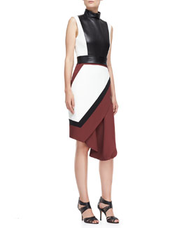 J. Mendel Funnel-Neck Wrap Skirt Dress