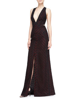 J. Mendel Plunging Lace-Overlay Gown