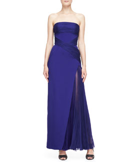 J. Mendel Strapless Ruched-Detail Gown