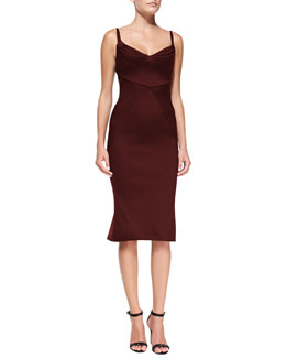 Zac Posen Sleeveless Seamed Satin Sheath Dress