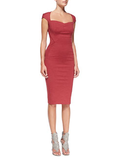 Zac Posen Cap-Sleeve Bandage Sheath Dress