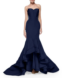 Zac Posen Strapless Seamed Mermaid Gown