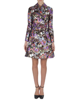 Valentino Metallic Butterfly Brocade Coatdress