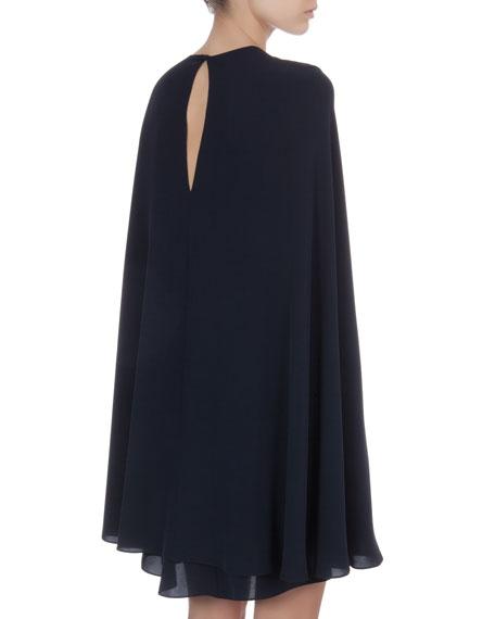 Short Cape-Back Silk Dress