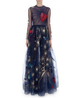Valentino Long-Sleeve Heart-Embroidered Gown