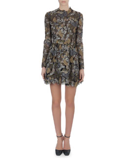 Valentino Long-Sleeve Metallic Butterfly Lace Dress