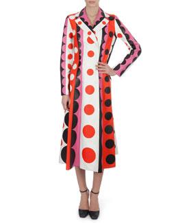 Valentino Carmen Striped Polka-Dot Leather Trench Coat