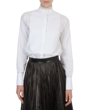 Valentino Organza-Collar Cotton Blouse