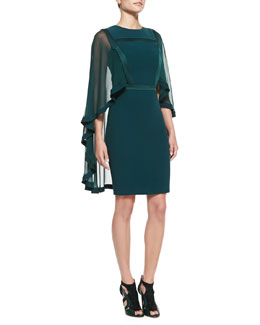 Elie Saab Sheath Dress with Sheer Cape