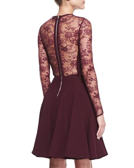 Sheer-Lace-Top Long-Sleeve Dress