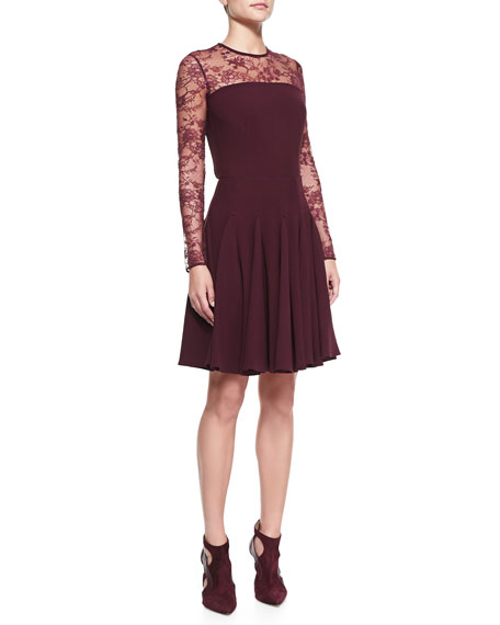 Sheer-Lace-Top Long-Sleeve Dress