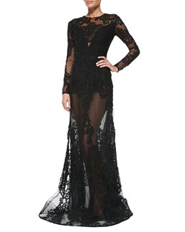 Elie Saab Long-Sleeve Sheer-Lace Gown