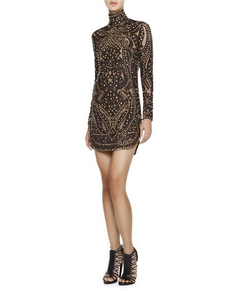 Studded Leather & Lace Turtleneck Dress