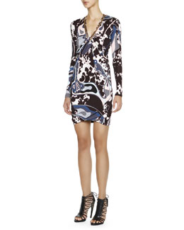 Emilio Pucci Appaloosa-Print Long-Sleeve Dress with Chain Detail