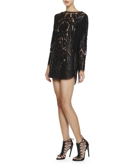 Long-Sleeve Leather & Lace Fringe Dress