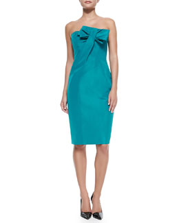 Carolina Herrera Silk Strapless Cocktail Dress with Bow, Turquoise