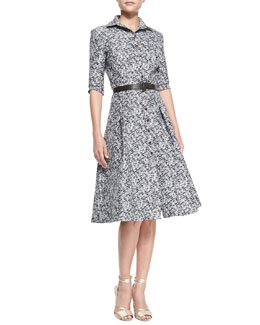 Carolina Herrera Pixelated Shirtdress, Ivory/Black/Multi