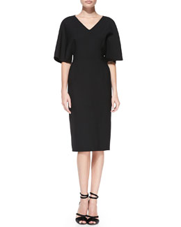 Carolina Herrera Kimono-Sleeve Double-Face Dress, Black