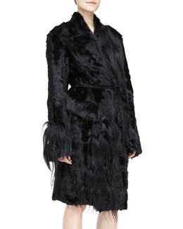 Donna Karan Self-Belted Fur Topper Coat, Black