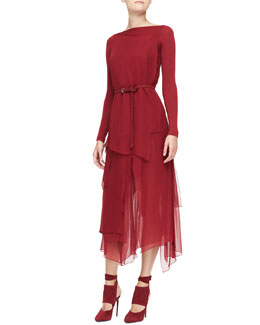 Donna Karan Long-Sleeve Belted Paneled Dress