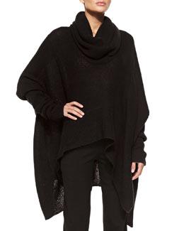 Donna Karan Knit Cowl-Neck Poncho