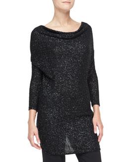 Donna Karan Sequined Cashmere Drape-Front Tunic