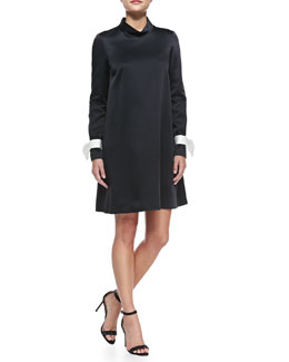 Mantu Long-Sleeve Mock-Neck Dress with Detachable Bow Cuffs