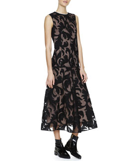 Marni Long Sleeveless Lace Dropped-Waist Dress