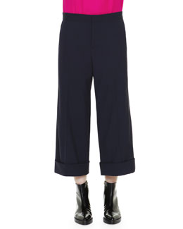 Cuffed Cropped Wide-Leg Trousers