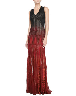 Roberto Cavalli Sleeveless Degrade-Knit Gown