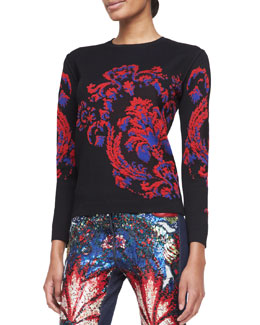 Roberto Cavalli Long-Sleeve Baroque-Print Top