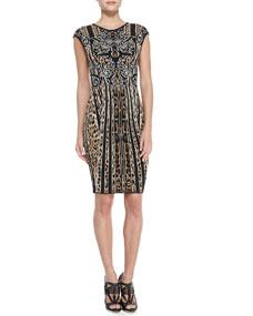Roberto Cavalli Cap-Sleeve Leopard/Striped Sheath Dress