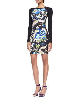 Roberto Cavalli Long-Sleeve Printed Sheath Dress