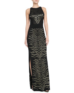 Roberto Cavalli Sleeveless Tiger-Print Gown