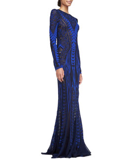 Roberto Cavalli Long-Sleeve Pointelle Knit Gown