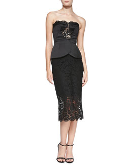 Cushnie et Ochs Strapless Lace Dress with Overlap Bustier
