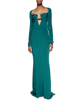 Cushnie et Ochs Cutout Long-Sleeve Gown with Triangle Bra