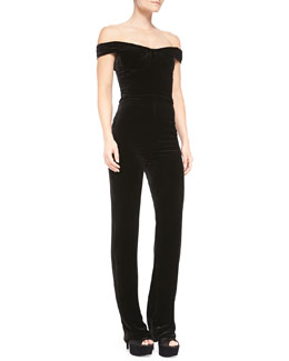 Cushnie et Ochs Velvet Off-Shoulder Jumpsuit