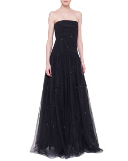 Akris Flashing Stars Strapless Corsage Gown