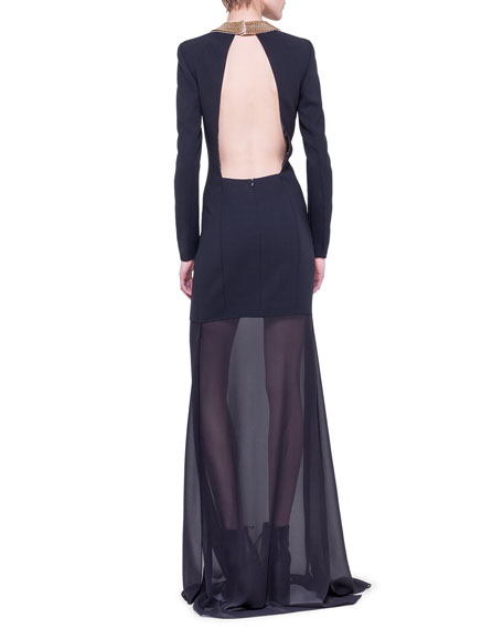 Chain-Neck Sheer-Skirt Gown
