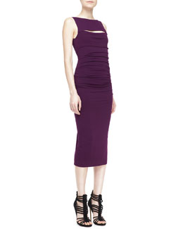Donna Karan Sleeveless Peekaboo Sheath Dress, Wood Violet