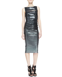 Donna Karan Metallic Sleeveless Peekaboo Sheath Dress, Charcoal