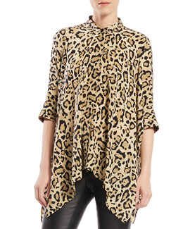 Gucci Leopard Print Silk Cape Shirt