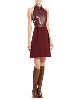 Gucci Leather Top A-Line Dress