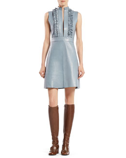 Gucci Leather Ruffle Front Sleeveless Dress