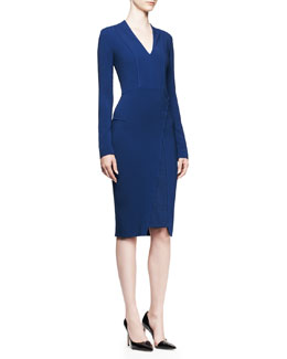 Roland Mouret Blaps Long-Sleeve Crepe Dress