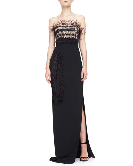 Strapless Feather-Bodice Crepe Gown, Black